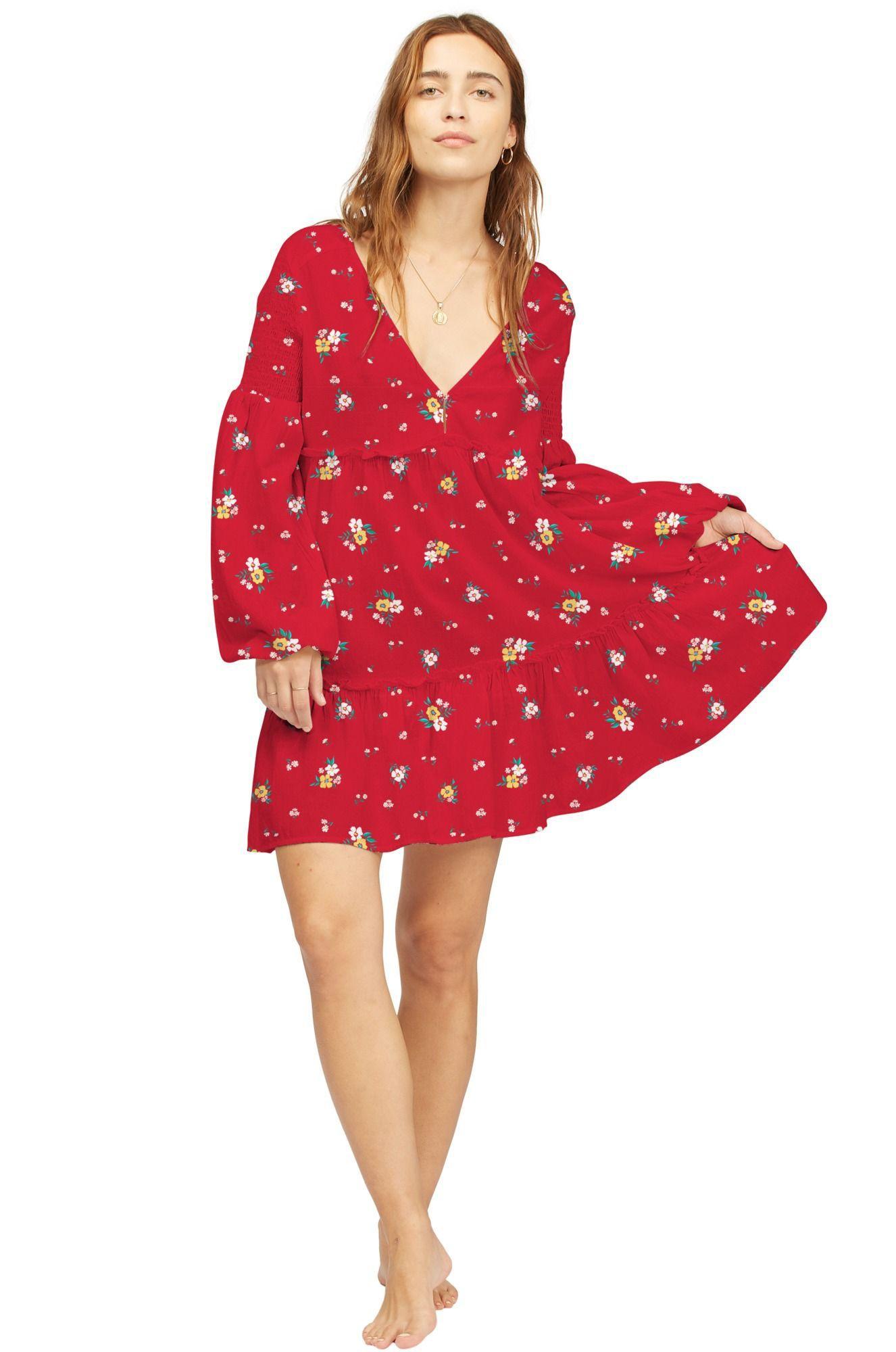 Billabong Dress FALLING FOR YOU WRANGLER. Classic Red
