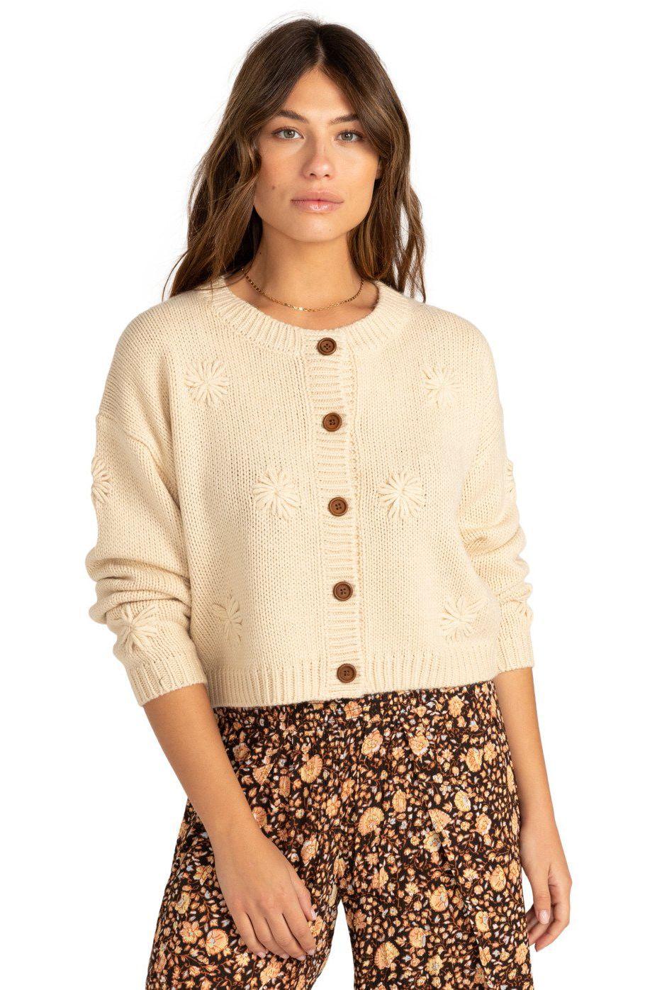 Billabong Knit  DAISY FLOWER COASTAL LOVE LETTERS Antique White