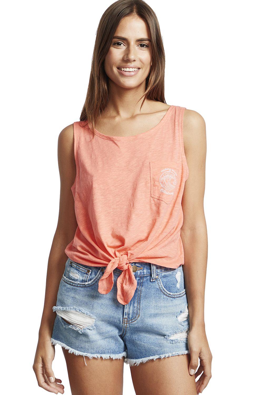 Billabong T-Shirt Tank Top SUMMER ONLY A DAY DREAM AWAY Coral Kiss