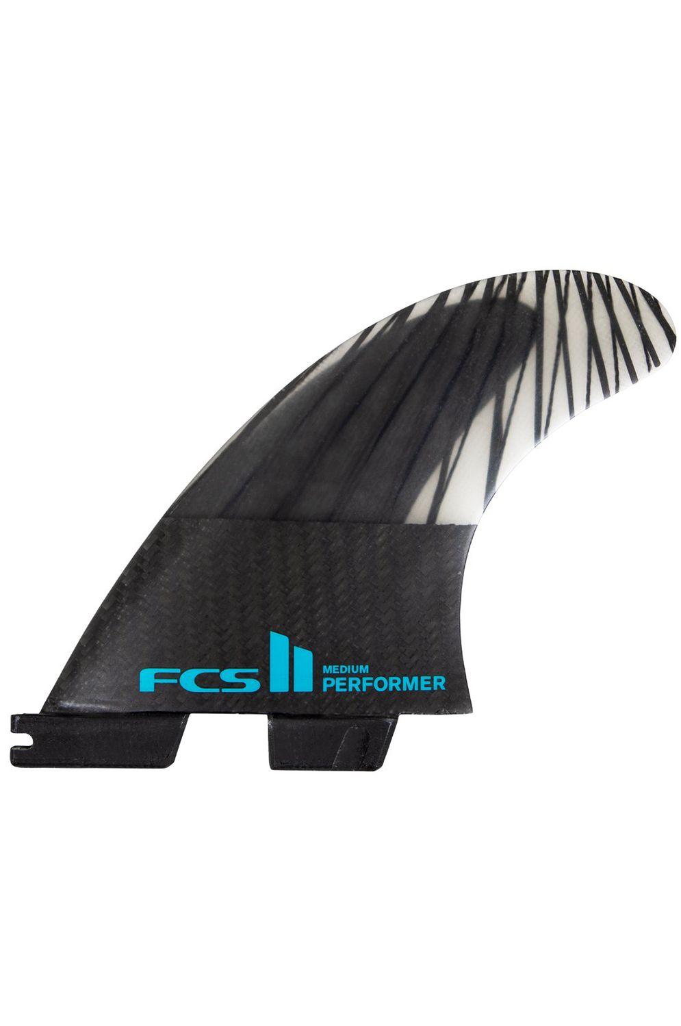 Fcs Fins II PERFORMER PC CARBON SMALL BLACK/TEAL TRI Tri FCS II S