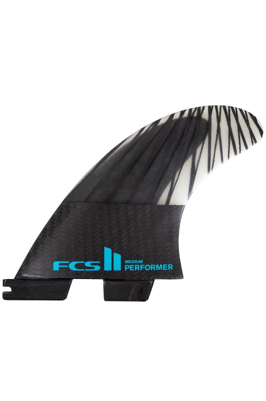 Fcs Fins II PERFORMER PC CARBON LARGE BLACK/TEAL TRI Tri FCS II L