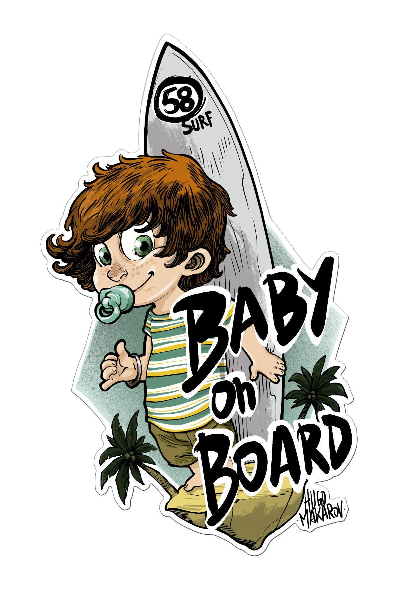 Autocolante 58 Surf BABY ON BOARD BOY Assorted