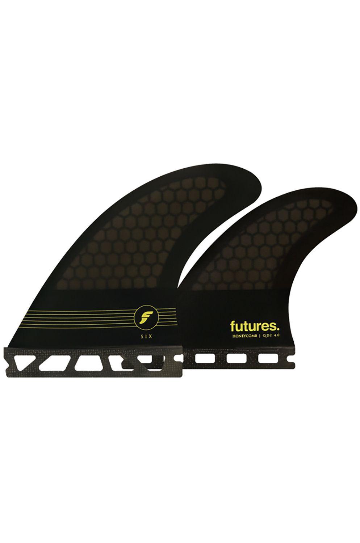 Quilha Future Fins F6 QUAD SMOKE/BLACK/YELLOW Quad Futures M