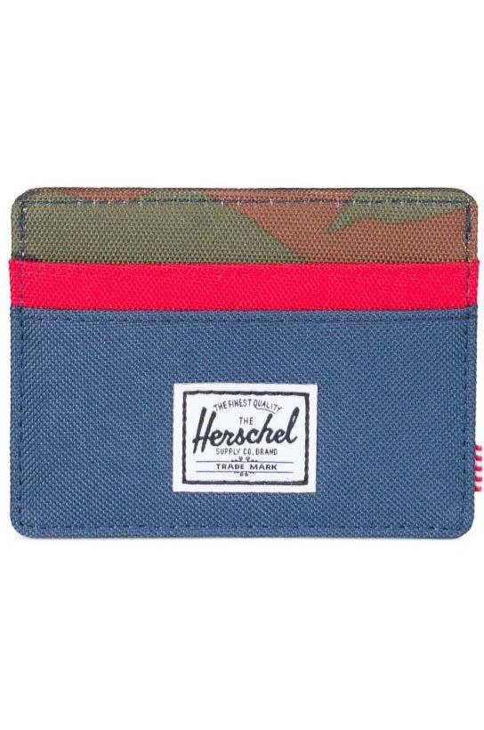 Carteira Herschel Charlie RFID Navy/Red/Woodland Camo