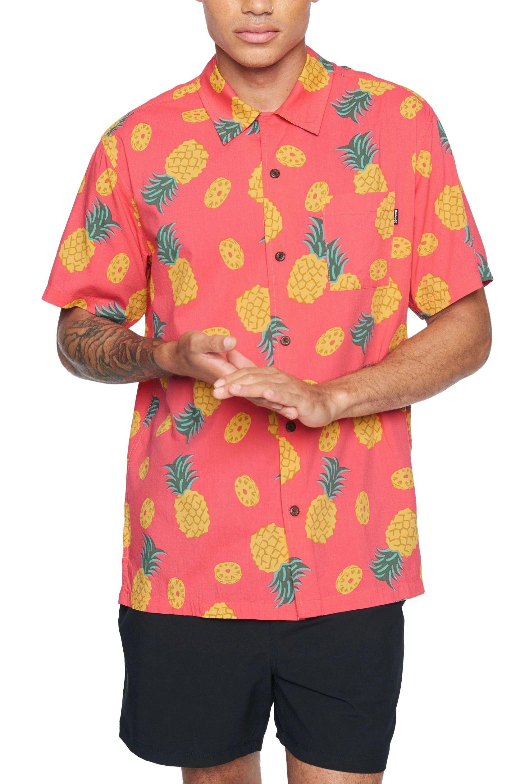 Hurley Shirt M PAU HANA SS Lt Fusion Red