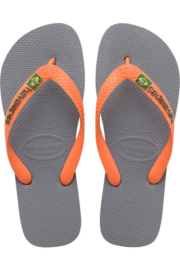 Chinelos Havaianas BRASIL LOGO Steel Grey/Neon Orange