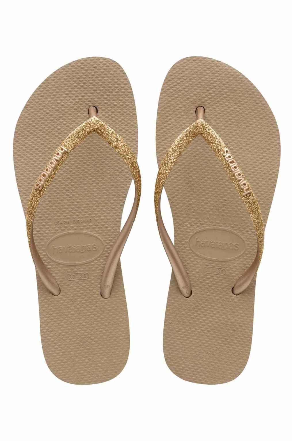 Havaianas Sandals SLIM FLATFORM GLITTER Rose Gold
