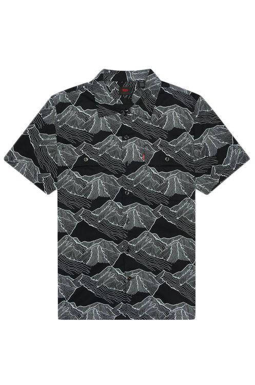 Levis Shirt SKATE SS BUTTON DOWN Mountainlineprint Small Black