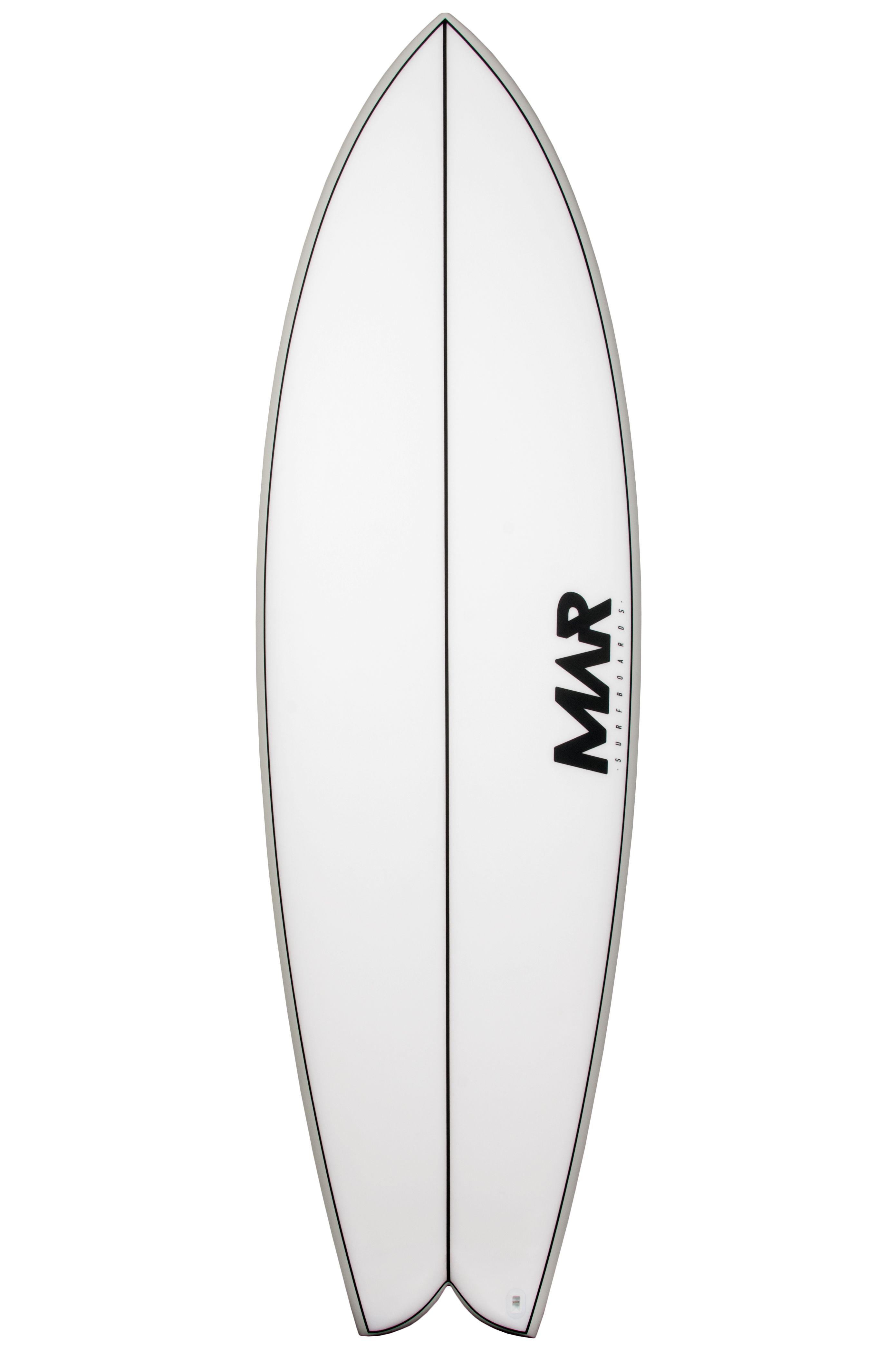 Mar Surf Board 5'10 MAR P2 XE Fish Tail - White FCS II Twin Tab 5ft10
