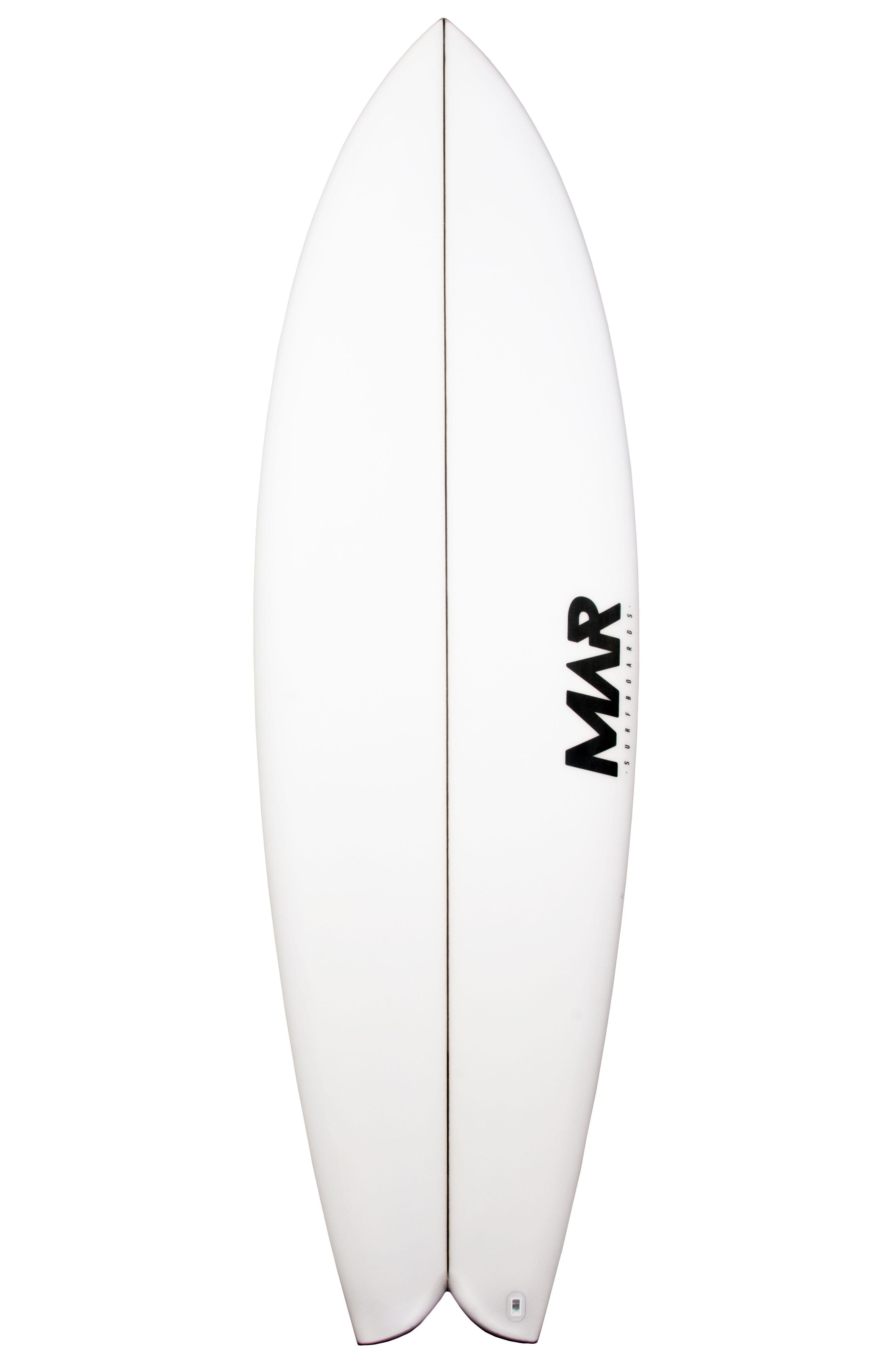 Mar Surf Board 5'10 MAR P2 PU Fish Tail - White FCS II Twin Tab 5ft10