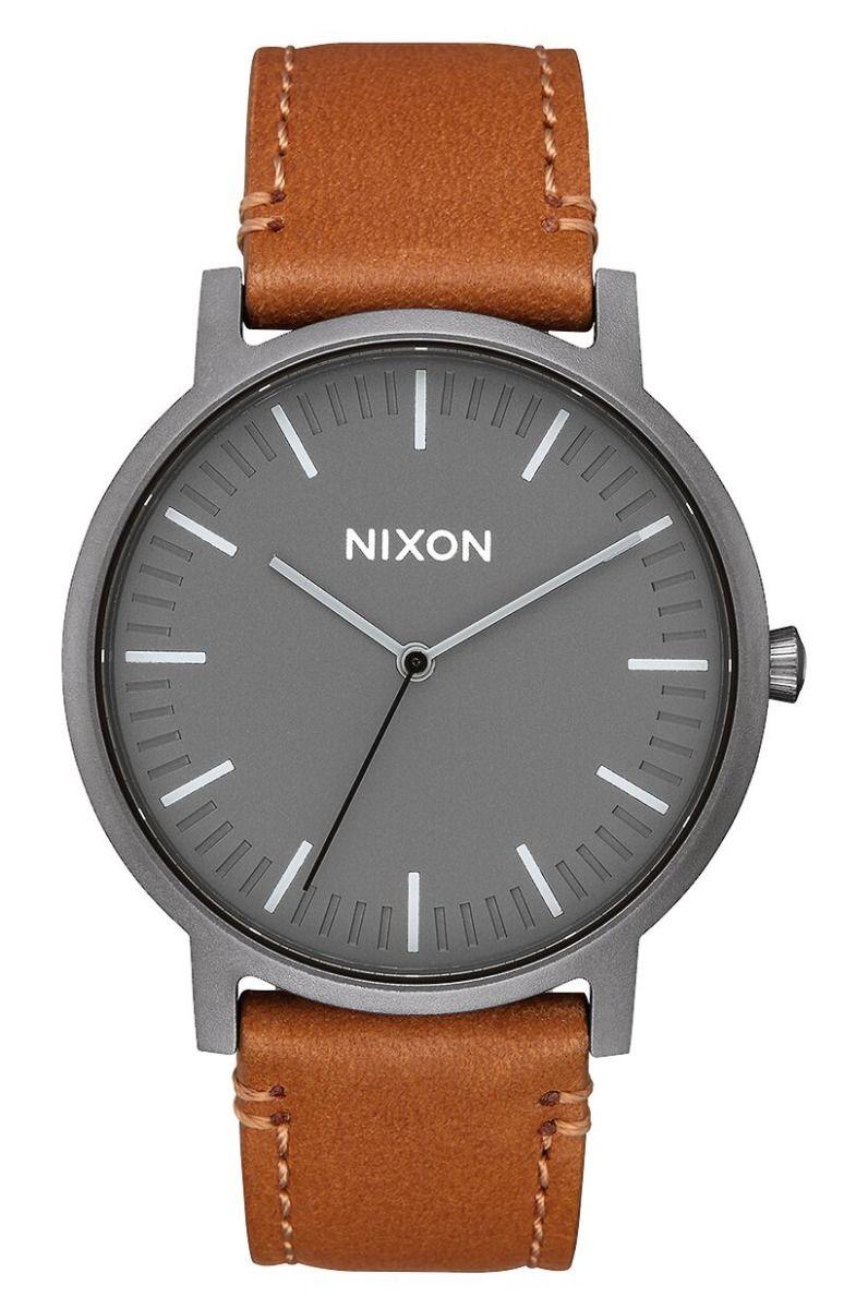 Nixon Watch PORTER LEATHER Gunmetal/Charcoal/Taupe