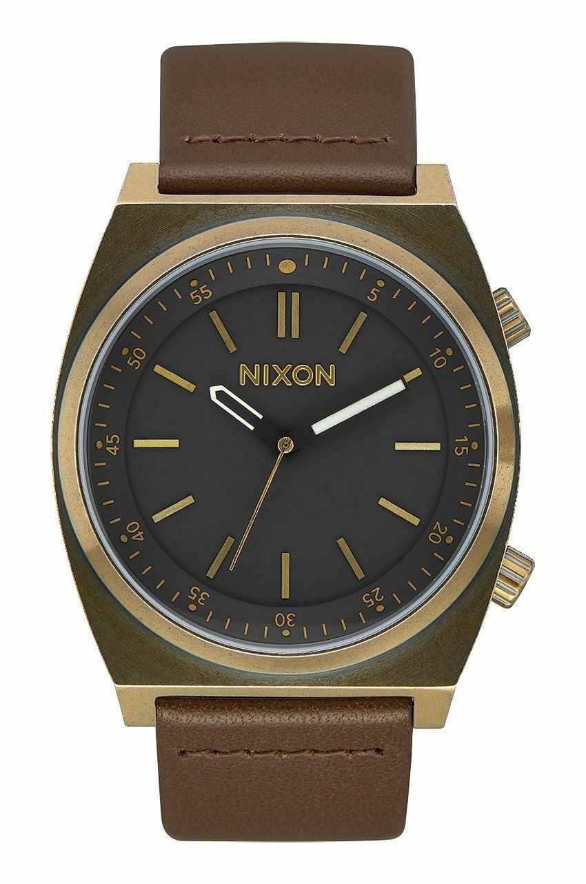 Relogio Nixon Brigade Leather Brass/Black/Taupe