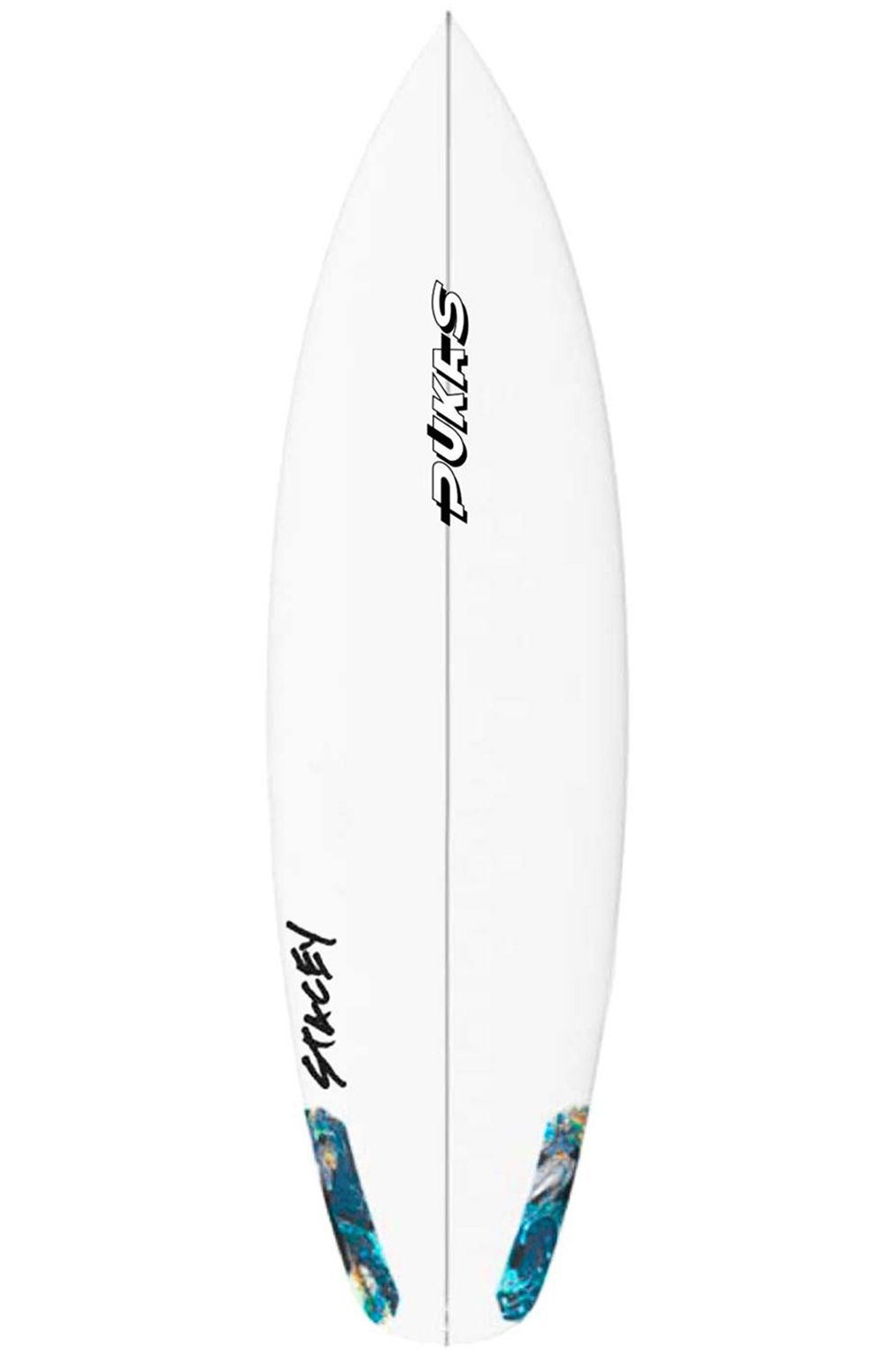 Pukas Surf Board 5'10 WAVE SLAVE Squash Tail - White FCS II 5ft10