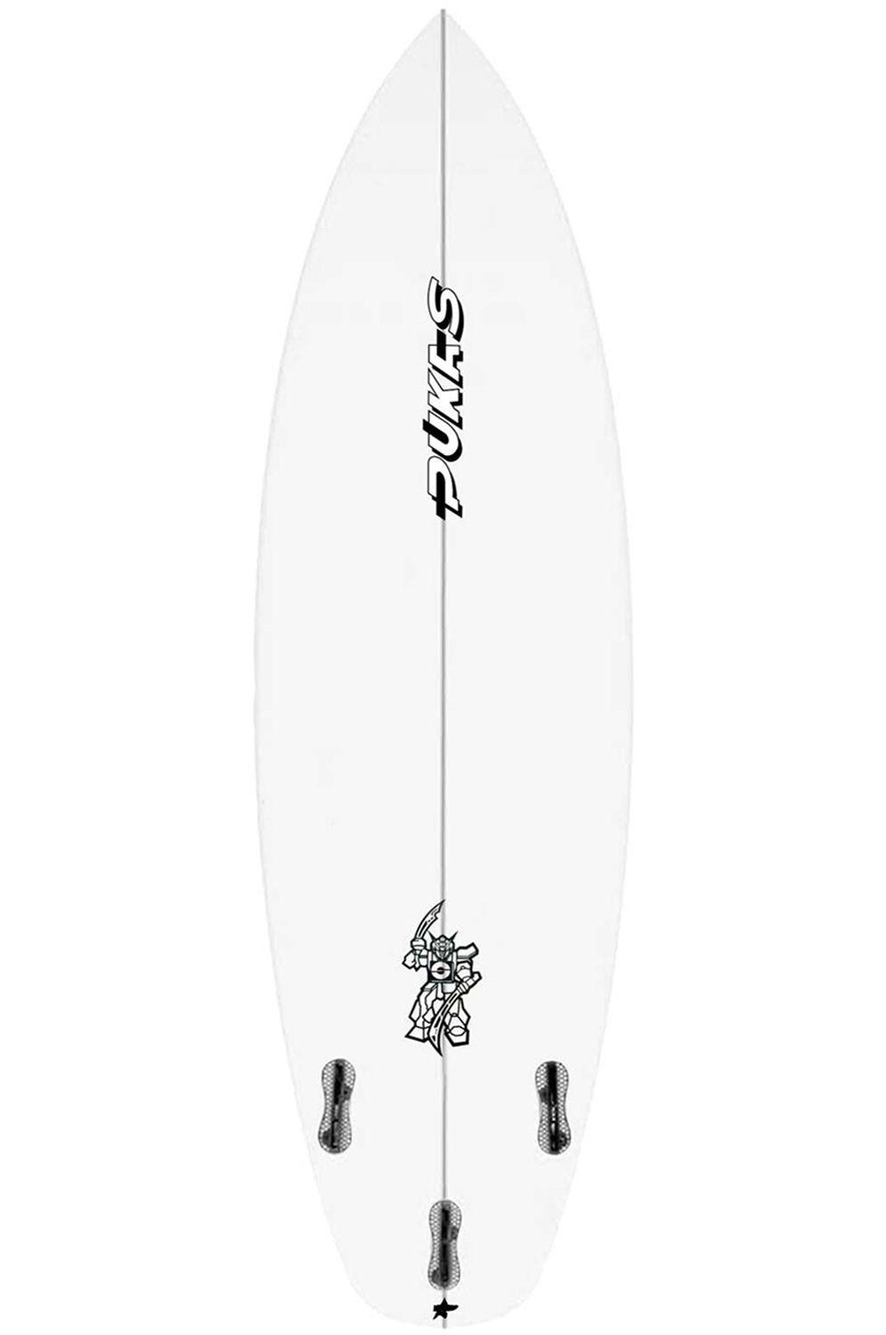 Prancha Surf Pukas 5'10 WAVE SLAVE Squash Tail - White FCS II 5ft10