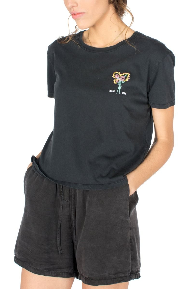 Pukas T-Shirt FIRE FLOWERS Faded Black