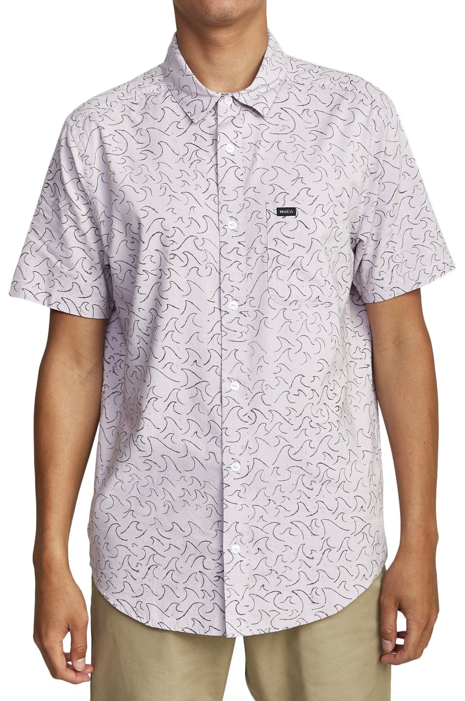 RVCA Shirt OBLOW WAVES SS Pale Lilac
