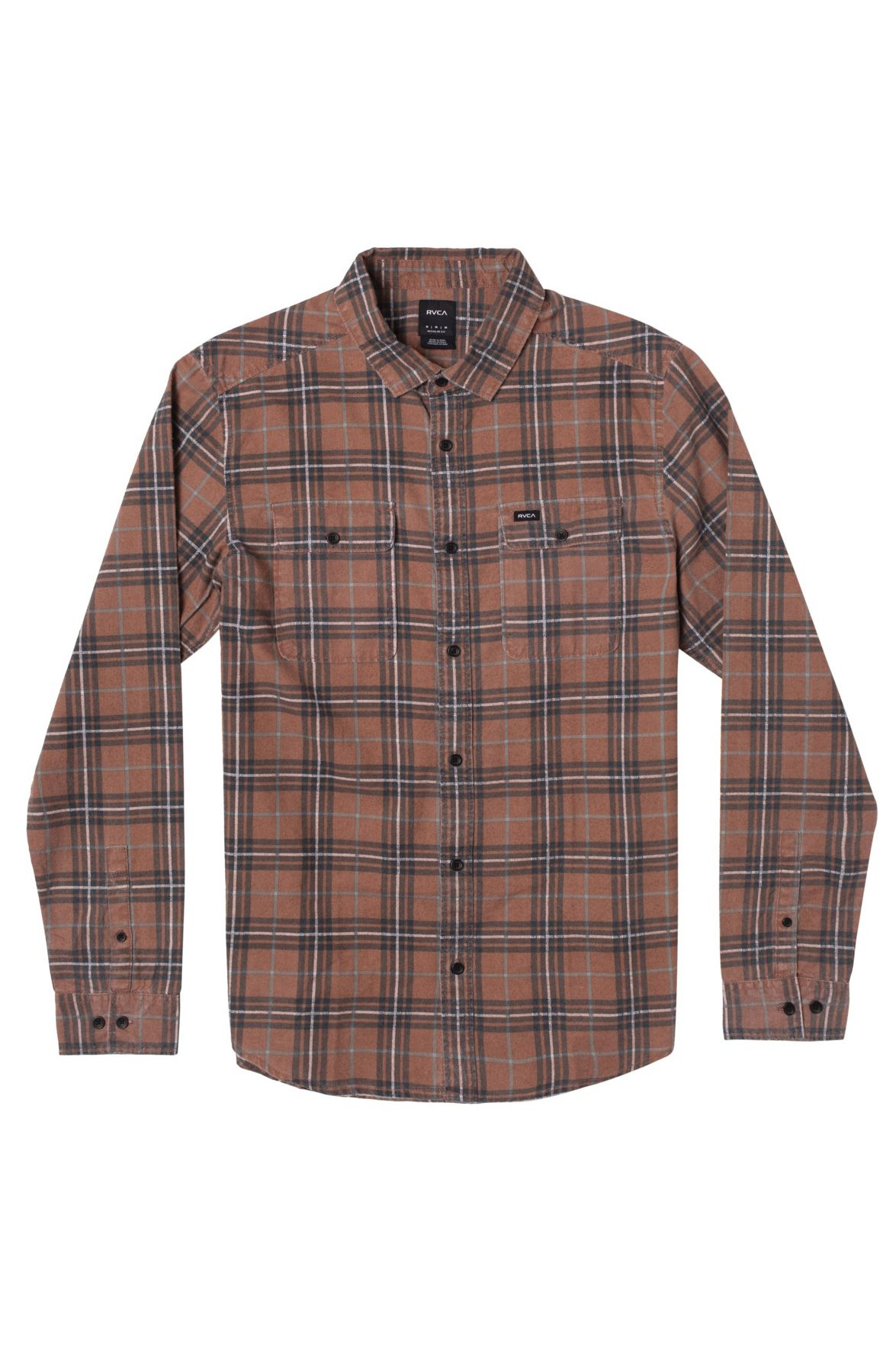 RVCA Shirt PANHANDLE LS FLANNEL Brick Red