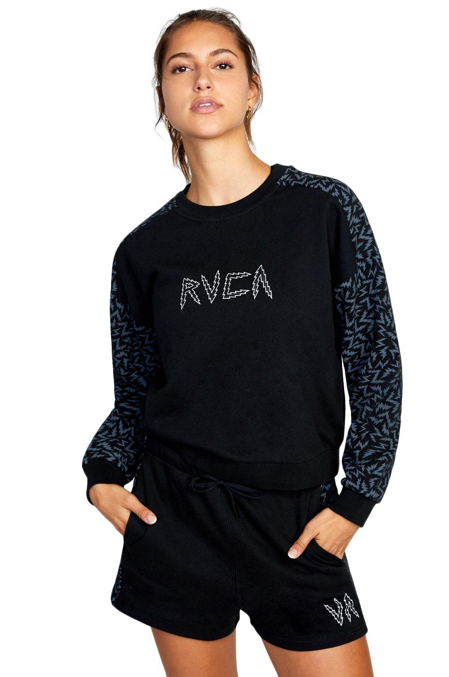 RVCA Crew Sweat LEINES HUSTLE CREWNE MATT LEINES Black