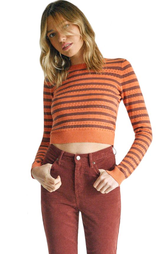 RVCA Sweater PARIS POINTELLE SWEA CAMILLE ROWE Spiced Coral
