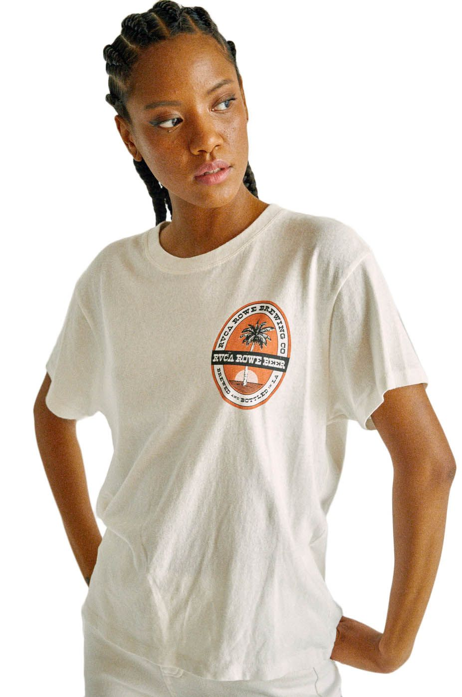 RVCA T-Shirt ROWE BREWING TEE CAMILLE ROWE Vintage White