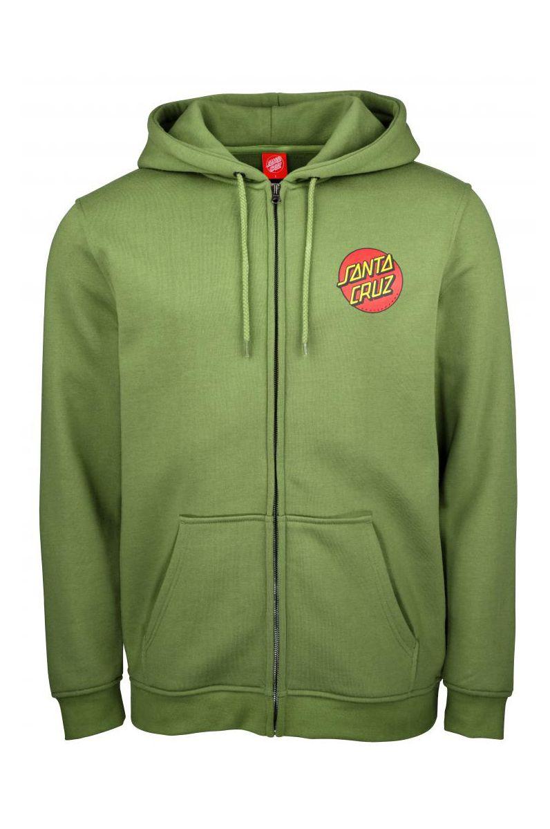Sweat Fecho Santa Cruz CLASSIC DOT ZIP HOOD Dill Green