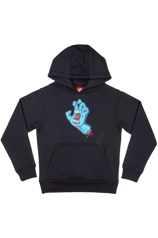 Santa Cruz Sweat Hood YOUTH SCREAMING HAND Black
