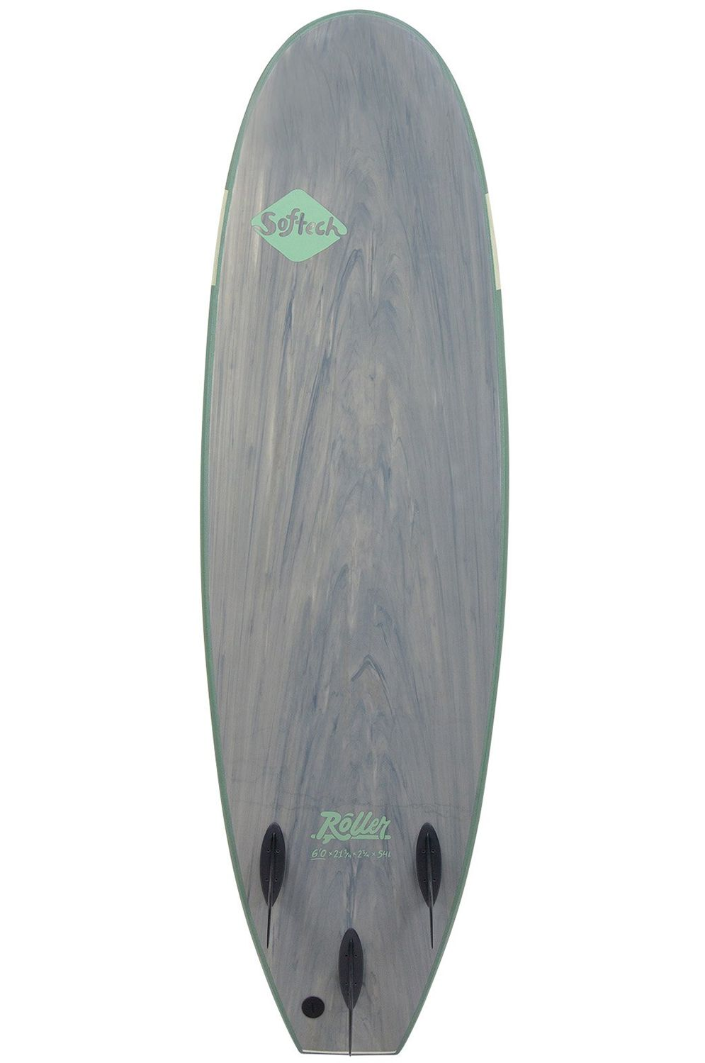 Prancha Surf Softech ROLLER 6'0 SMOKE GREEN Square Tail - Color FCS 6ft0