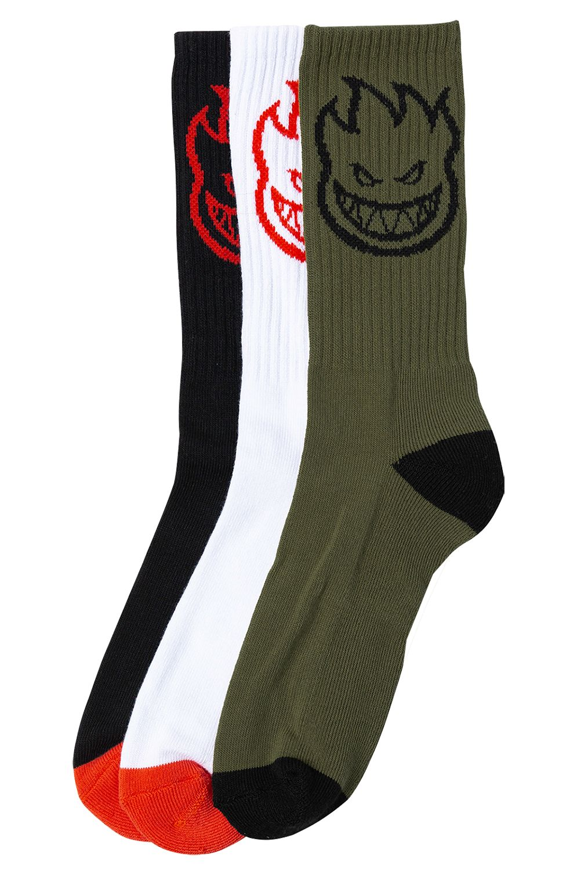 Spitfire Socks BIGHEAD 3-PACK White/Red,Black/Red,Olive/Black