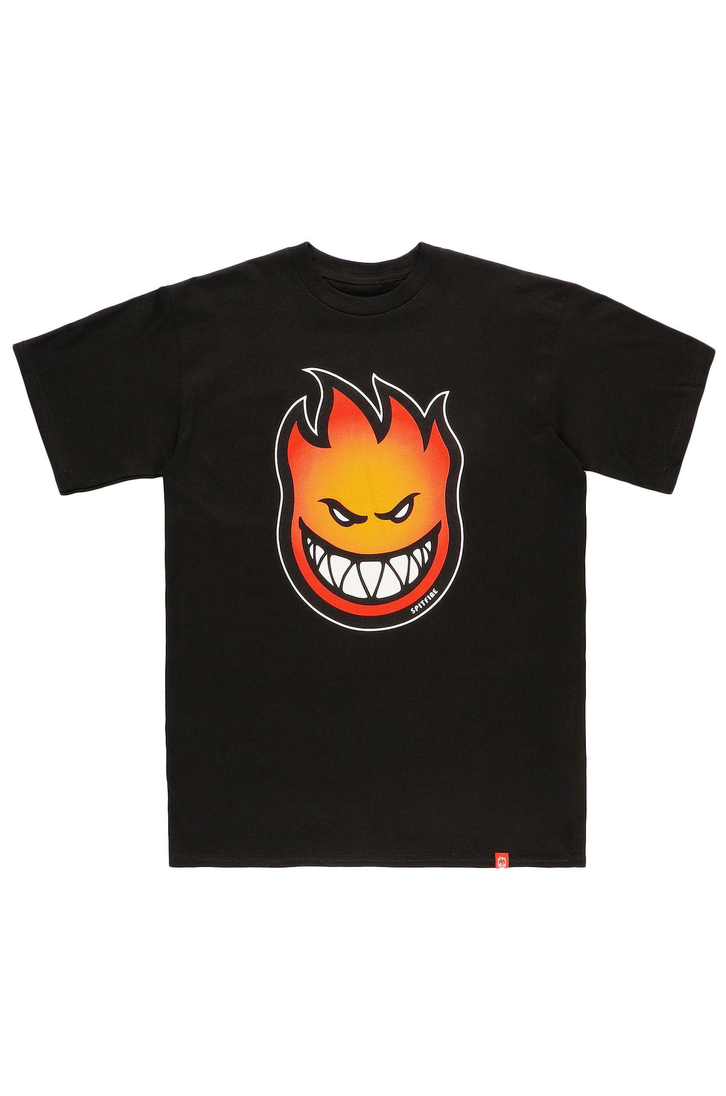 Spitfire T-Shirt BIGHEAD FADE FILL Black W/ Gold To Red Fade Print