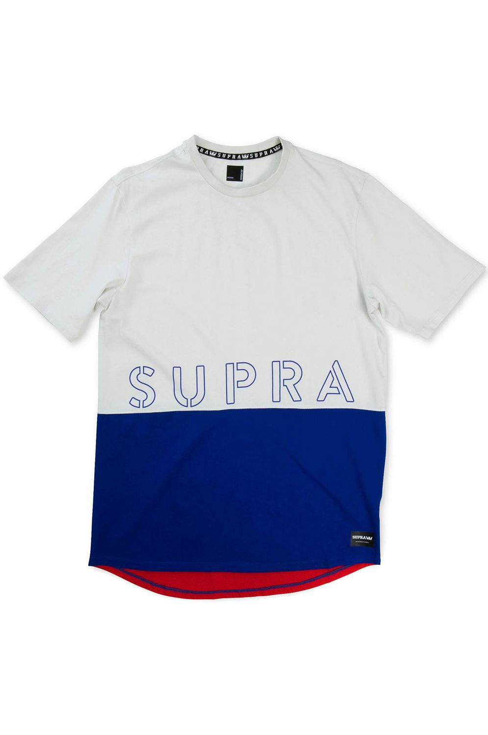 T-Shirt Supra COLOR BLOCK CREW II White/Blue/Red