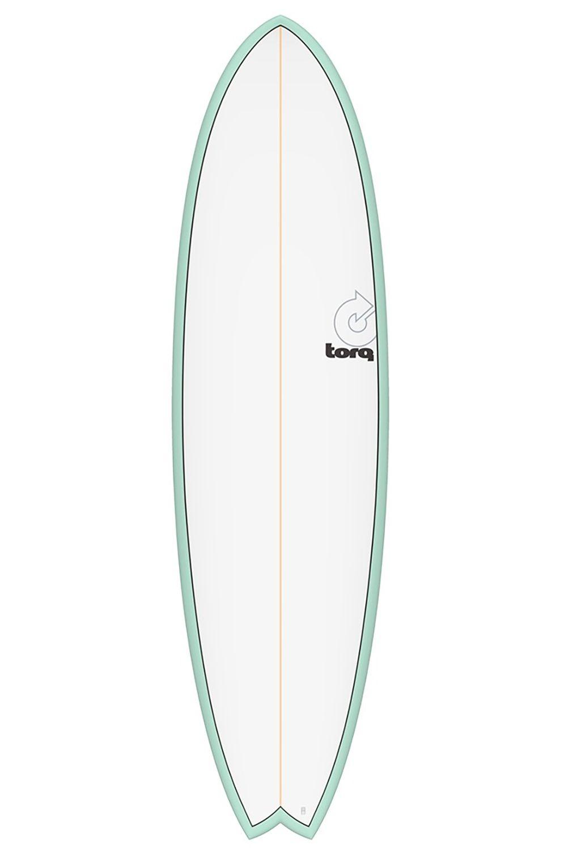 Prancha Surf Torq 6'3 MOD FISH SEAGREEN + PINLINE Swallow Tail - White Futures Multisystem 6ft3