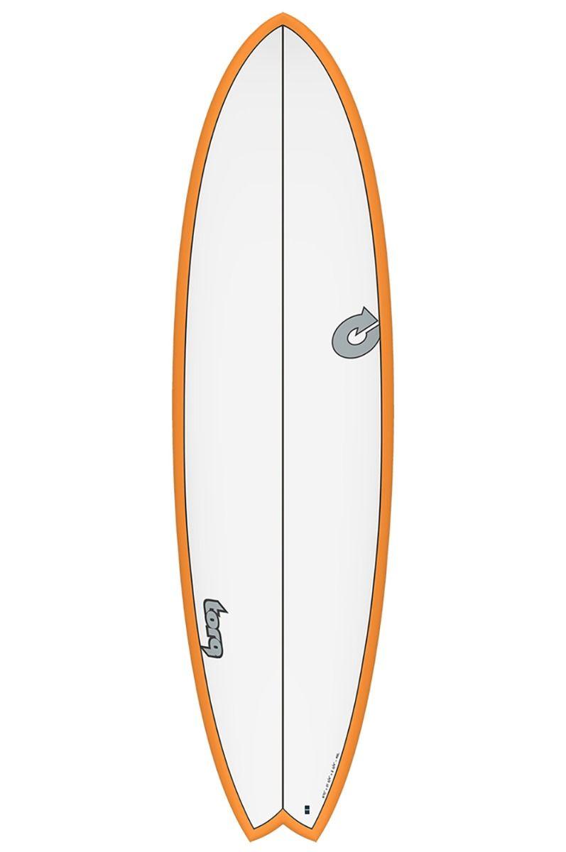 Torq Surf Board 6'3 MOD FISH WHITE + ORANGE + CARBON STRIPE Swallow Tail - Color Futures Multisystem 6ft3