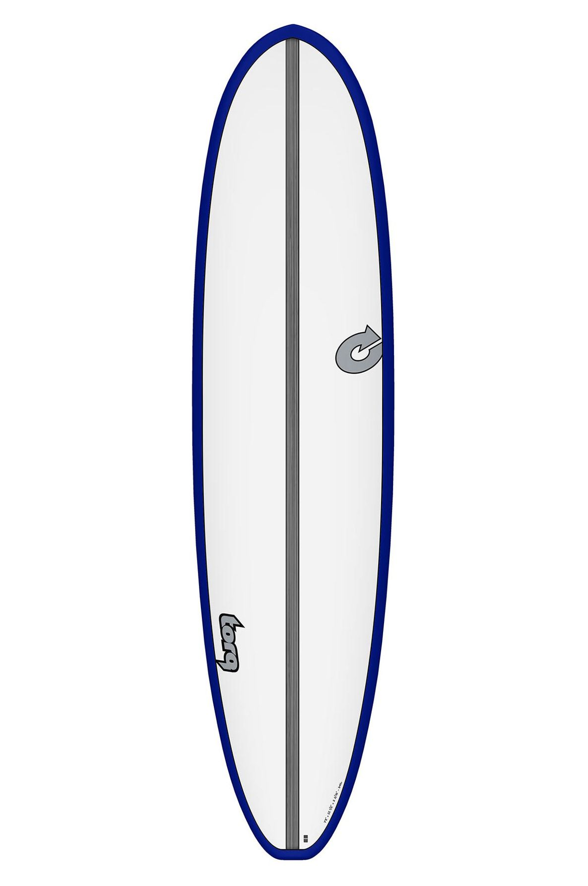 Prancha Surf Torq 7'8 MOD FUN WHITE + RFLX BLUE + CARBON STRIPE Squash Tail - Color Futures 7ft8