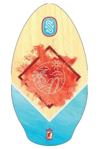 """Skim One Skimming Board 37"""" WOOD Wailuku Red/Teal"""