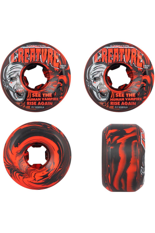 OJ Wheels Skate Wheels 54MM BLOODSUCKERS 97A Red/Black Swirl