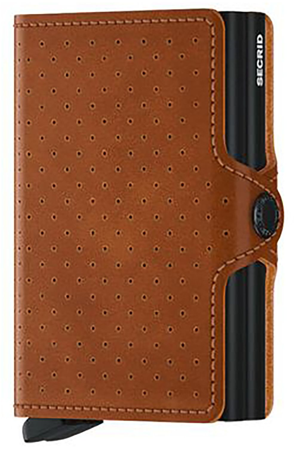 Secrid Leather Wallet TWINWALLET PERFORATED Cognac