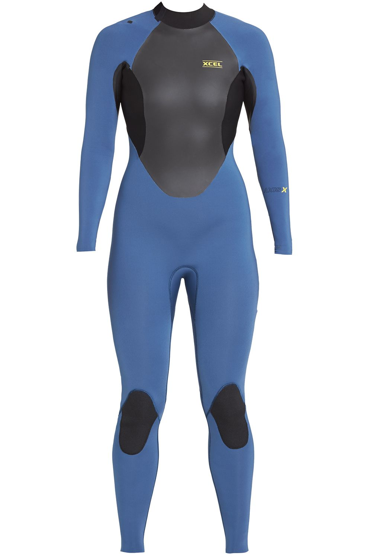 Xcel Wetsuit 3/2MM AXIS X BACK ZIP FULLSUIT- S-SEAL SLEEVES Cascade Blue/Black/Cascade Blue 3x2mm