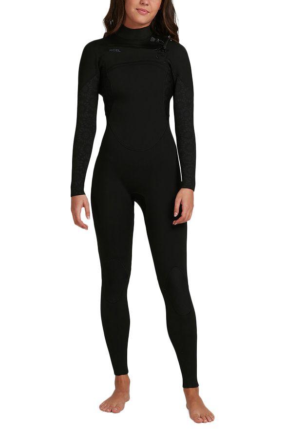 Xcel Wetsuit COMP 4/3MM - X2 FULLSUIT Black/Black W/ Flower Print 4x3mm